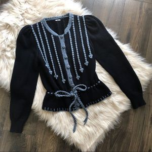 Sweaters - Vintage Blue Knitted Cardigan Sweater